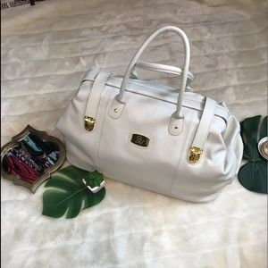 Joy mangano white 100% leather doctor bag duffle